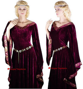 Medieval-Maid-Burgundy-Velvet-Gown-Fancy-Dress-Costume-8-10-12-14-16-18-20-22-24