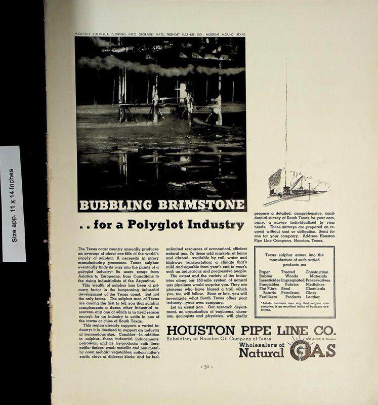 1937 Houston Pipe Line Co Wholesaler Natural Gas Brimstone Vintage Print Ad 5910