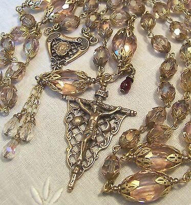 Handmade Rosary ~ Antique Victorian Design ~ Bronze ~ 8mm Blush Pink Crystals