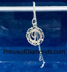 Sterling silver initial letter J pendant & sterling silver chain