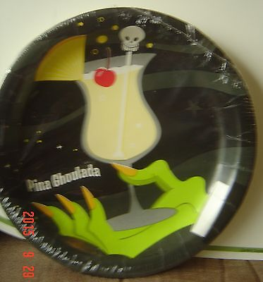 NW PINA GHOULADA Creative Expressions PLATES Cocktail Black Skull HAND Halloween (Creative Halloween Cocktails)
