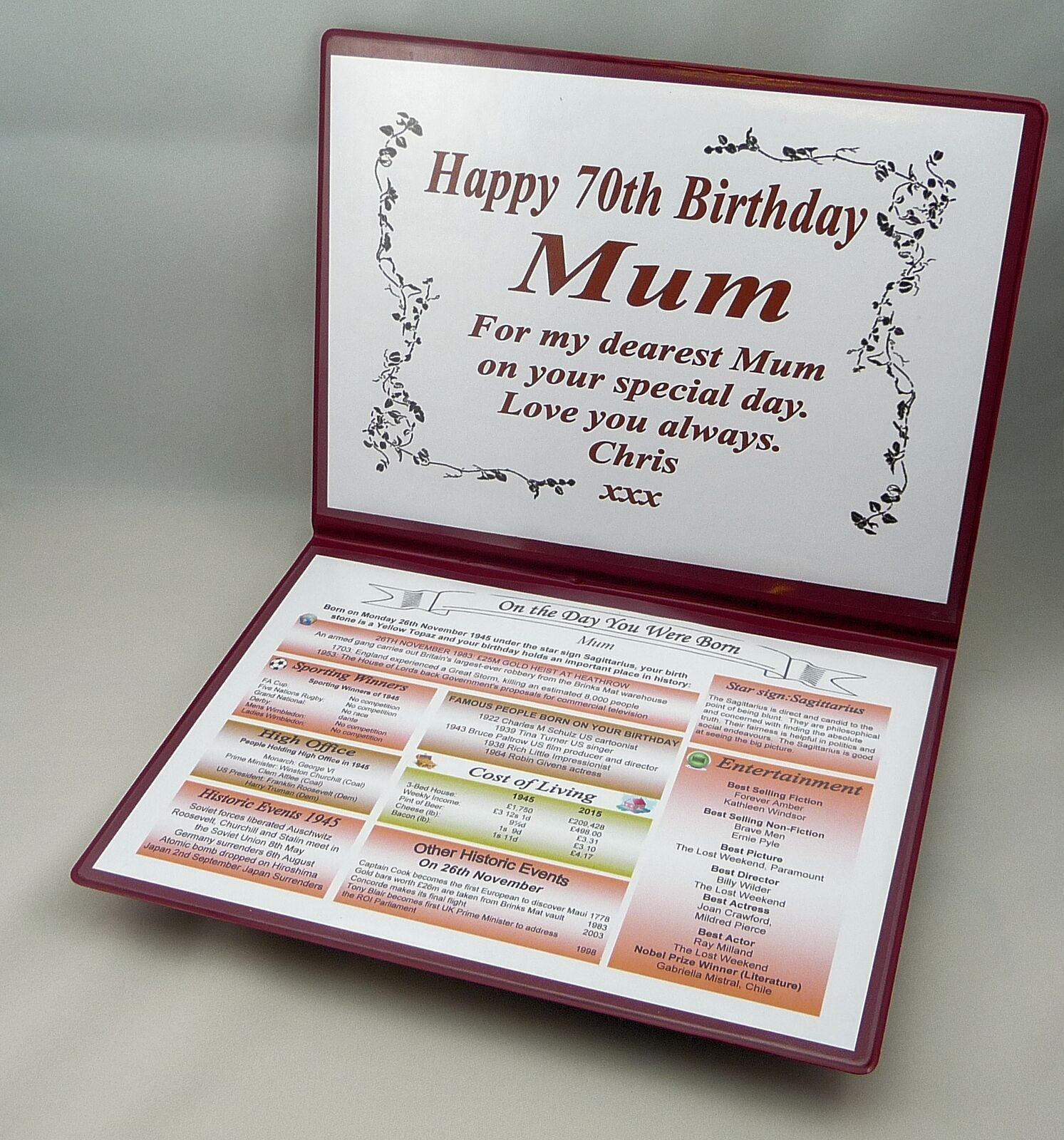 SPECIAL 70TH BIRTHDAY GIFT- THE DAY YOU WERE BORN