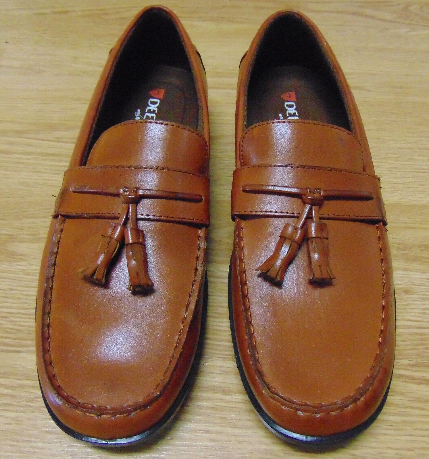 bates mens brown loafers with memory foam
