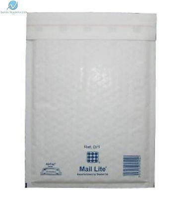 100 D1 D/1 White 180 x 260 mm Padded Bubble Wrap Mail Podtal Bags Envelopes