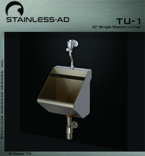 """Stainless AD /Stainless 10"""" Single Station Urinal - TU1"""