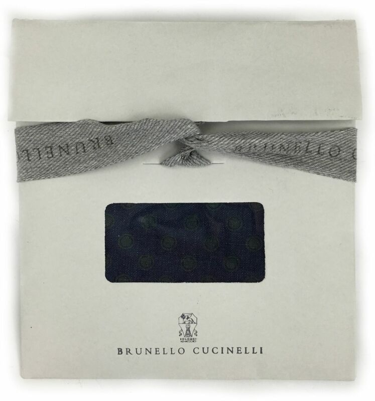 Brunello Cucinelli Blue Cotton Blend Polka Dot Pocket Square