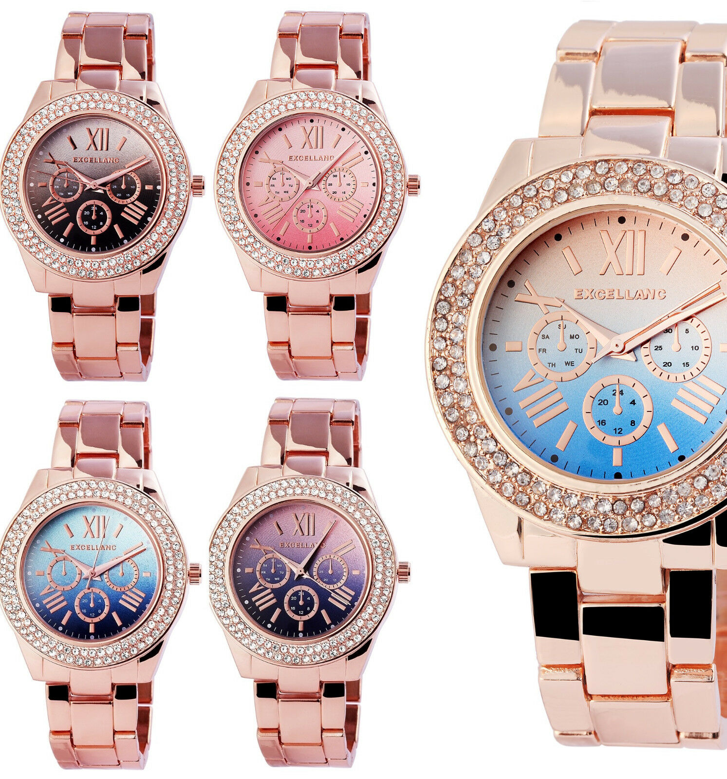 elegante Excellanc Damenuhr Armbanduhr Rosegold Metallarmband 4 Farben wählbar