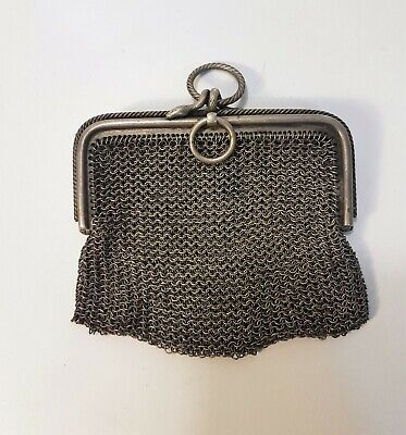 Vintage Unusual Real Shell Coin Purse Blue Shimmer