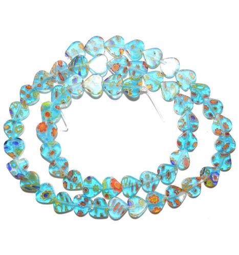 "G3473 Aqua Blue w Multi-Color Flowers 8mm Flat Heart Millefiori Glass Beads 15"""