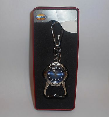 NWT Fossil,Combination Watch ,Bottle Opener, Key Fob, In The Original Tin Box