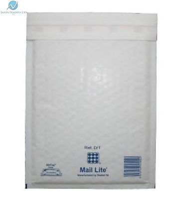 50 D1 D/1 White 180 x 260 mm Padded Bubble Wrap Mail Lite Postal Bag Envelopes