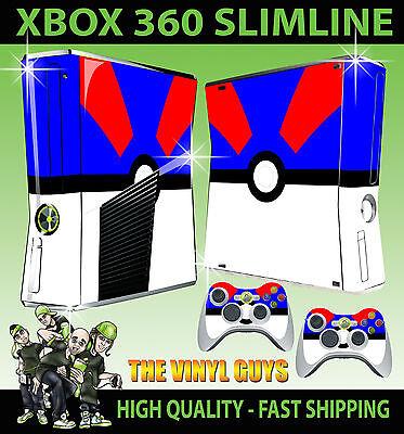 XBOX 360 SLIM STICKER GREAT POKEBALL BLUE WHITE POKEMON GO SKIN & 2 X PAD SKIN for sale  Shipping to Canada