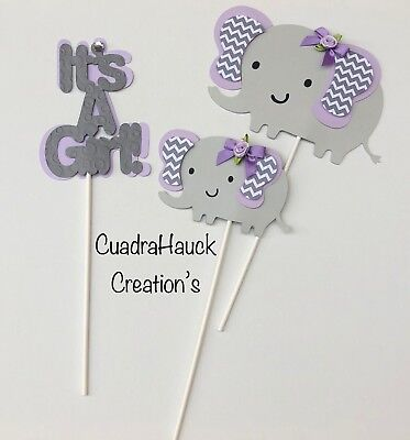 Elephant Centerpieces stick/ lavender and Gray elephant/elephant baby shower  - Lavender Centerpieces