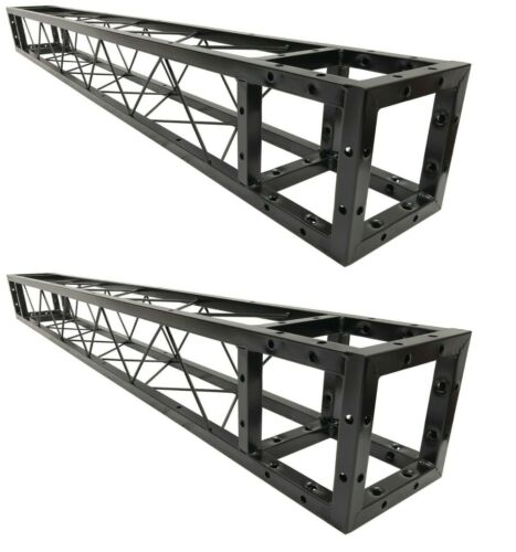"""Two (2) 2 Meter 6.56 ft Square 8""""x8"""" Black Trussing Box Truss Sections Bolt 13ft"""