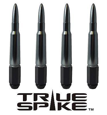 24 TRUE SPIKE 7 INCH 14X2.0 STEEL LUG NUTS W/ GUNMETAL 50 CAL BULLET SPIKES
