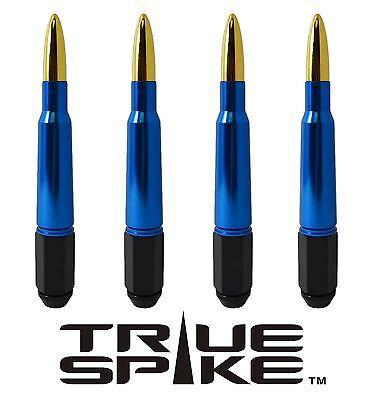 24 TRUE SPIKE 7 INCH 14X2.0 STEEL LUG NUTS W/ BLUE GOLD 50 CAL BULLET SPIKES
