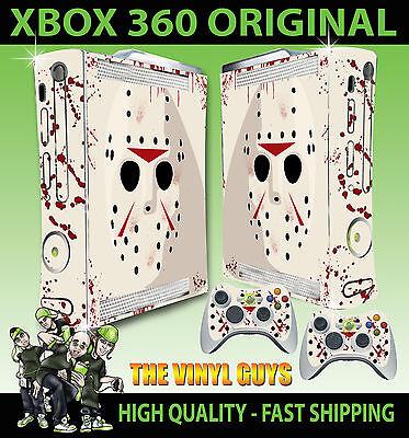 XBOX 360 ORIGINAL JASON VOORHEES MASK BLOODY STICKER SKIN COVER & 2 PAD SKINS ()