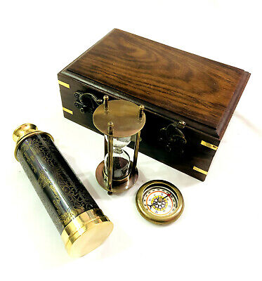 Set of 3 Brass Antique Telescope with Sand Timer & Pocket Compass in Wooden Box