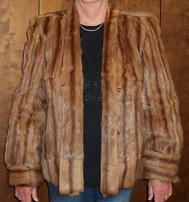 Vintage ladies brown fur jacket,  Womens mink big-shoulder shrug,  size medium