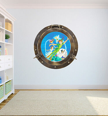 PORT HOLE PETER PAN FLYING WENDY TINK WALL ART VINYL DECOR PRINT DECAL STICKER