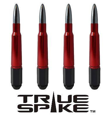 "20 TRUE SPIKE 7"" INCH 14X2.0 STEEL LUG NUTS W/ RED GUNMETAL 50 CAL BULLET SPIKES"