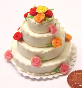 1-12-Wedding-Cake-With-Multi-Coloured-Roses-Dolls-House-Miniature-Accessory-C