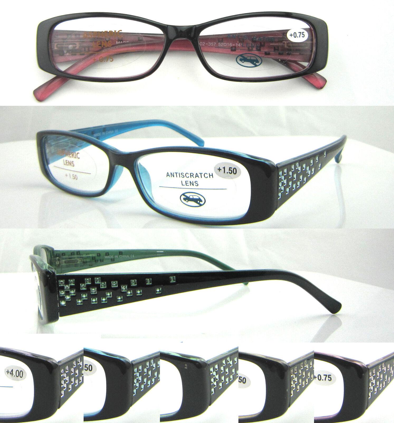 L357 Quality Women Reading Glasses/Spring Hinges/Super Fashion/Sparkling Diamond