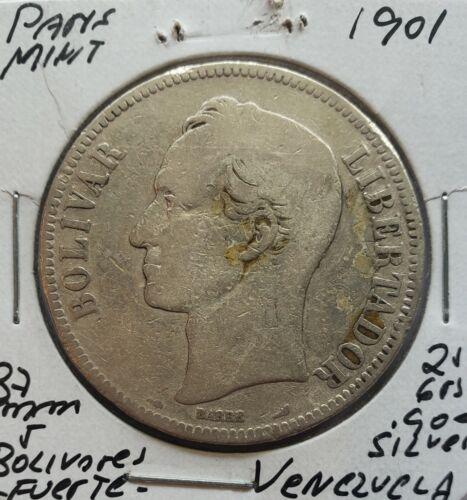 1901 Venezuela 5 Bolivares Gram 25 Silver Coins
