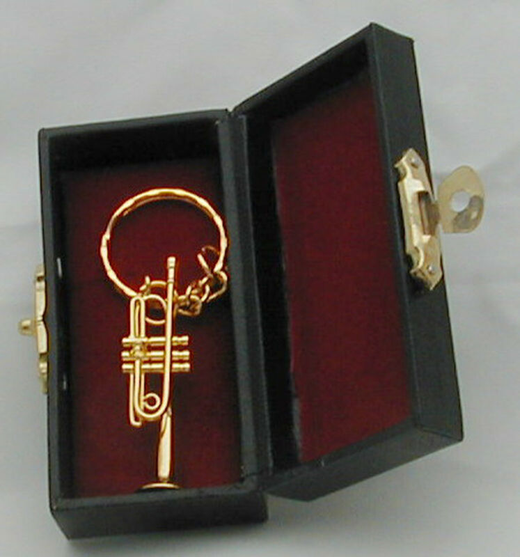 """Trumpet miniature hand made collectible replica 1.75"""" with keychain(Gold/Silver)"""