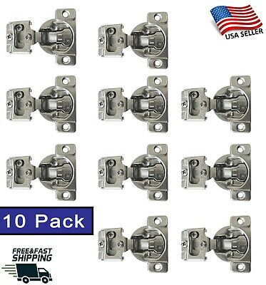 10 Pack Soft-Closing Compact 1/2 Overlay 105° Hinge Kitchen Cabinet Hardware