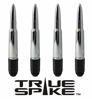 "20 TRUE SPIKE 7"" INCH 14X2.0 STEEL LUG NUTS W/ CHROME 50 CAL BULLET SPIKES"