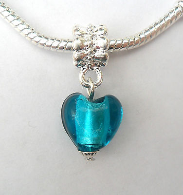 Silver & Murano Glass Lampwork Heart Bead Aqua Blue / Green