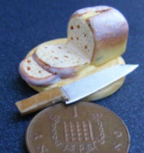 1-12-Scale-Ceramic-Bread-On-A-Board-Knife-Dolls-House-Miniature-Food-A
