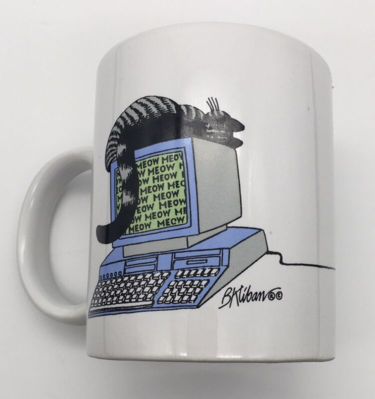 1989 Vintage B Kliban Cat on Computer Collectible Cat On Mouse Ceramic Mug
