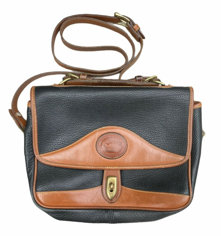 Vintage Dooney and Bourke R701 Carrier Shoulder Bag | Pebbled Leather Black Tan