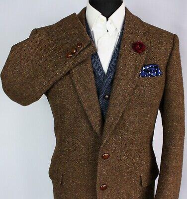Harris Tweed Blazer Jacket Brown Wedding 44R AMAZING QUALITY & CONDITION 2981