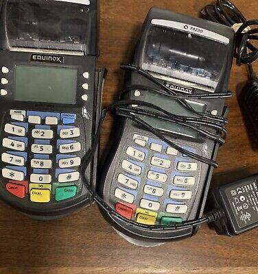 Qty. 2- Hypercom Optimum T4220 Credit Card Processing Terminal Machine Black