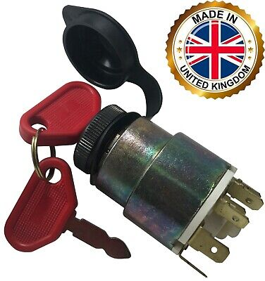 Universal Ignition Starter Barrel Switch 12v Waterproof Cover 4 Pos. 2 Keys Uk