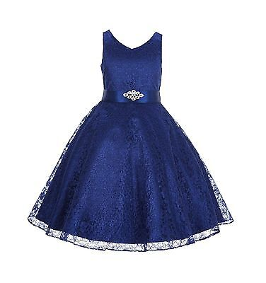 Wedding Floral Lace Overlay V Neck Flower Girl Dress Pageant Holiday Christmas