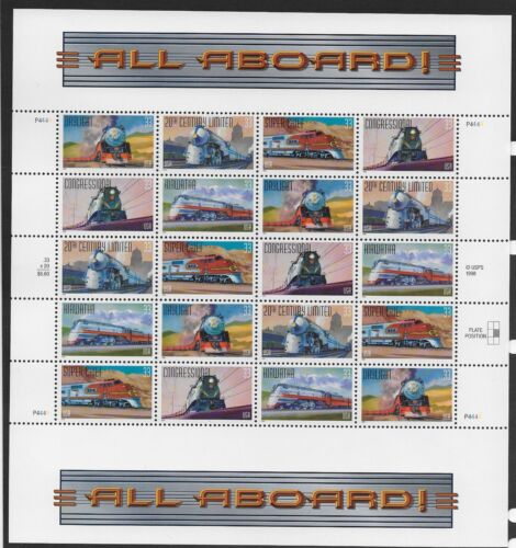 Us #3333-3337 Famous Trains Cross Gutter Sheet With Extra Title Mnh