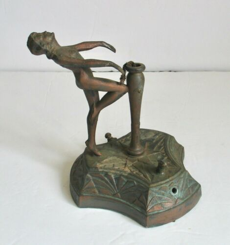 Antique Cast Metal Art Nouveau Deco Lady Table Lamp Base Girl Nymph Figurine