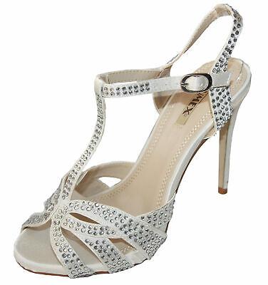 Zapatos de Novia Sandalias en Crema Blanco Con Piedras 8477-GL Bzw. 3hgl-8874...