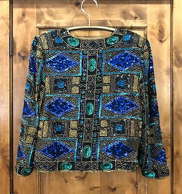 VTG Silk Beaded Sequins Silk Blouse Jacket Holiday Party 1X Better In Person