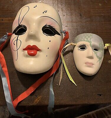 2 Porcelain Ceramic Painted Wall Hanging Face Mask