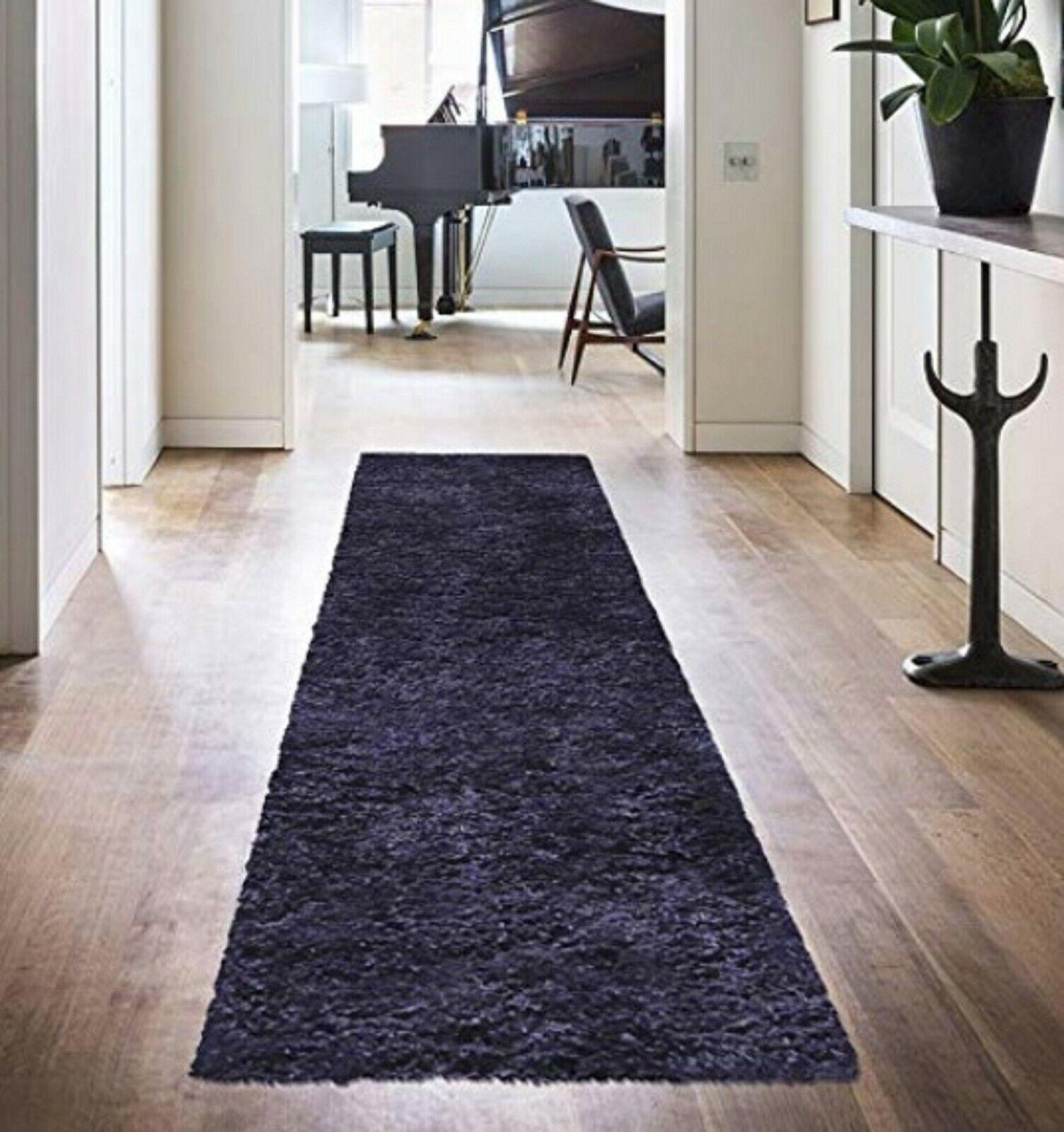 Superior Elegant  Plush Hand-Woven Purple Shag Runner Rug -