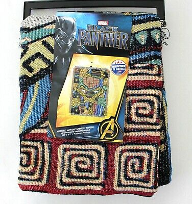Marvel Black Panther Metallic Woven Patchwork Fringe Tapestry Throw - Metallic Tapestry Throw Blanket