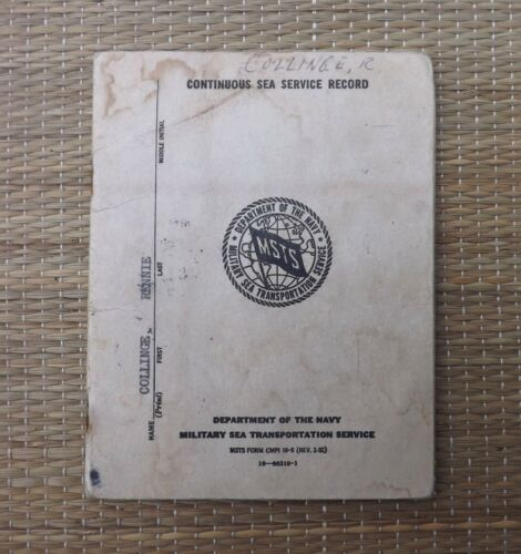 US Navy MSTS CONTINUOUS SEA SERVICE RECORD 1963-71 Military Sea Transportation