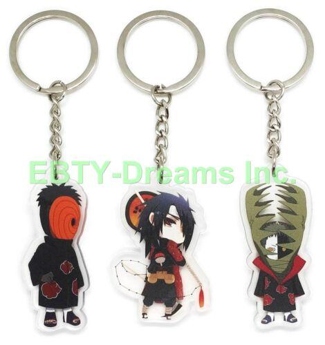 Set of 3 Naruto Anime Acrylic Keychain Akatsuki Uchiha Madara Obito Tobi Zetsu