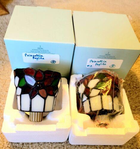 2 New Rare NIB Partylite Poinsettia Peglites Tiffany Glass Style Candle Holders