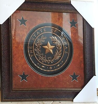 Texas Claim Seal With Stars Western Art Rustic Decor Framed Picture Flair Idea